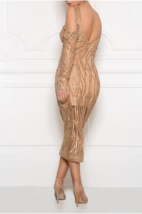 Gold macramé bustier dress