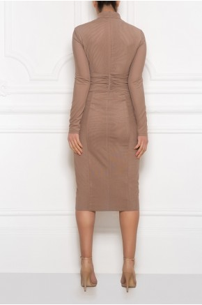 High neck midi mesh dress