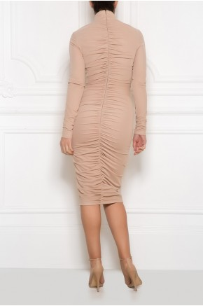 High neck ruched mesh dress
