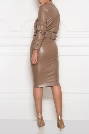 Crop military jacket with high waist skirt