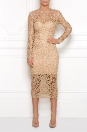 Gold sheer beaded crochet midi dress