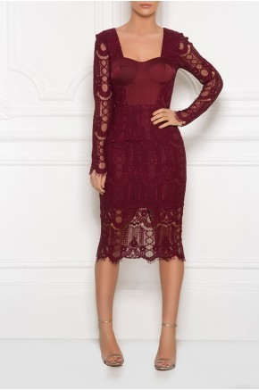 Lace and satin bustier midi dress