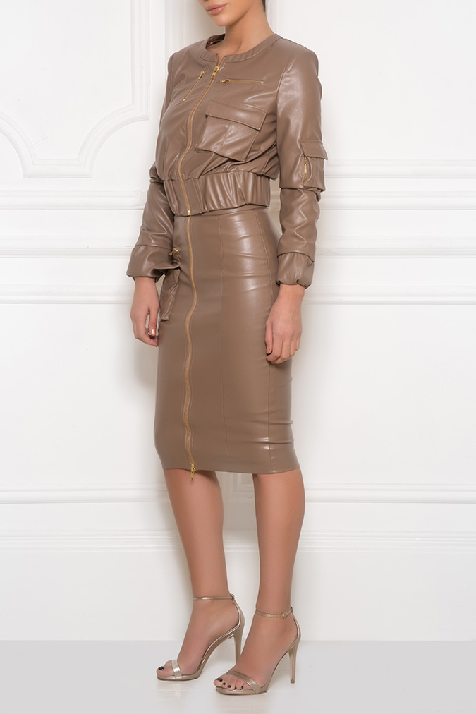 Kalayci London - Crop+military+jacket+with+high+waist+skirt